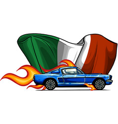 Muscle car with flames and italian flag vector