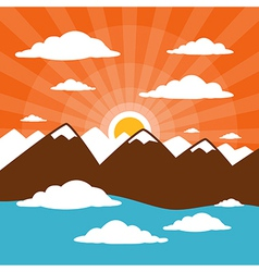 Nature abstract mountains with clouds sun set - ri vector