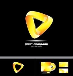 Orange yellow triangle corporate 3d logo design vector