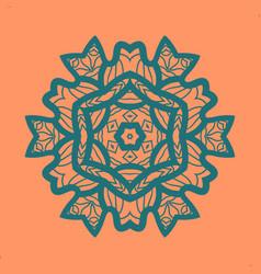 Outlined print on orange color background mandala vector