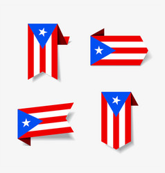 Puerto rican flag stickers and labels vector