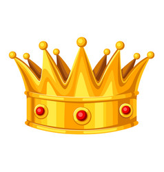Realistic gold crown with red rubies vector