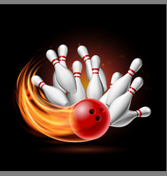 Red bowling ball in flames crashing into pins vector