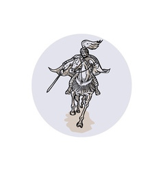 Samurai Warrior With Katana Sword Horseback vector