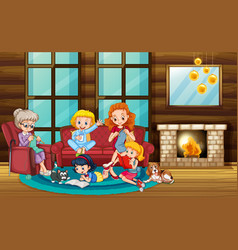 Scene with people in family relaxing at home vector