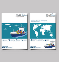 Sea shipping banner template set vector