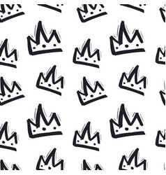 seamless pattern with hand drawn crown on white vector image