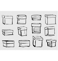 set boxes various shapes and sizes painted vector image