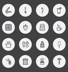 Set of 16 editable cooking outline icons includes vector