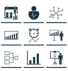 Set of 9 board icons includes company statistics vector