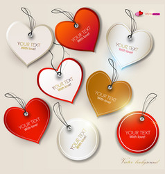 Set of bubbles stickers labels tags shape of heart vector
