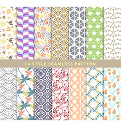 Set of various seamless pattern 14 style eps10 vector image