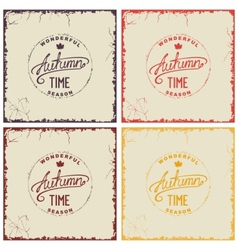 Set of vintage autumn card vector