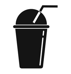 Smoothie plastic cup icon simple style vector