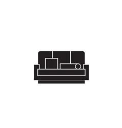sofa black concept icon sofa flat vector image