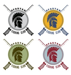 Spartan fishing club labels with warrior head vector