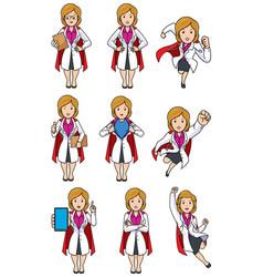 super doc caucasian female set vector image