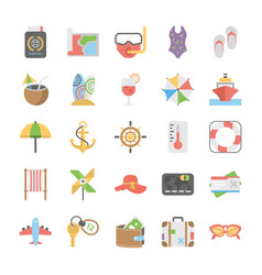 travel and holidays icons set vector image
