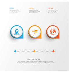 traveling icons set collection of location vector image