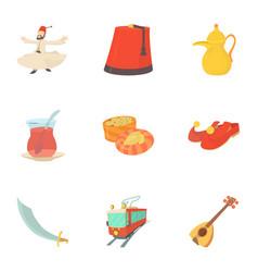 turkey culture icons set cartoon style vector image