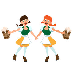 two german girl hold beer in wooden mug vector image