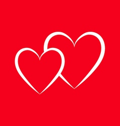 Two hearts on a red background vector image