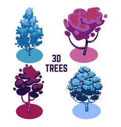 unusual colors trees collection - trees isolated vector image