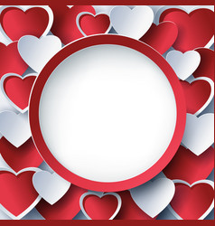 Valentine round frame with 3d red heart vector
