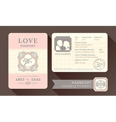 Vintage Visa Passport Wedding Invitation card vector image