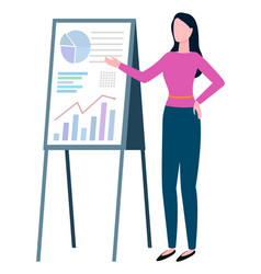 woman standing near board with graphs and charts vector image