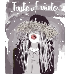 young winter woman vector image