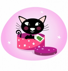black christmas kitten in box vector image vector image