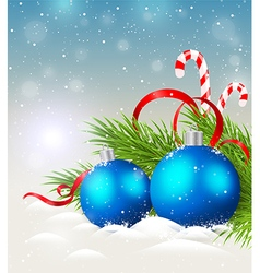 Christmas background with shining blue decorations vector image vector image