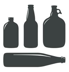 Craft beer bottles vintage brewery bottles sign vector