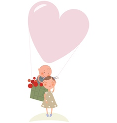 Love in hot air balloon vector image