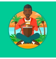 Man playing ethnic drum vector image vector image