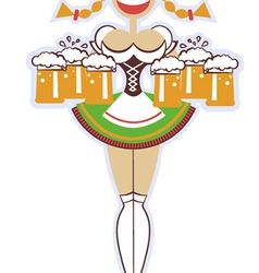 oktoberfest waitress with glasses of beer woman vector image