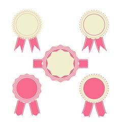 Retro pink color set of ribbon banner badges vector image