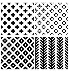 Set of 4 monochrome geometric seamless patterns vector image vector image