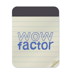 wow factor lettering notebook vector image vector image