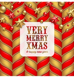 Christmas decor and label with holidays greetings vector image