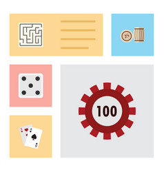 flat icon games set of backgammon lottery vector image vector image