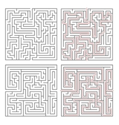 Two different mazes of medium complexity on white vector image