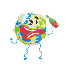 Drunk cartoon earth planet character with bottle vector