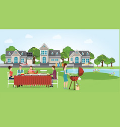 Group of people enjoying party barbecue picnic vector