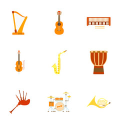 musical device icons set flat style vector image