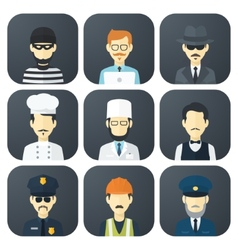 Occupations Icons Set vector image