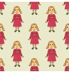 Seamless pattern with doll vector image