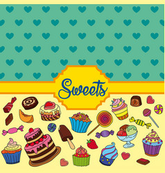 set of different sweets sweets background vector image vector image