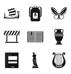 ancient greece icons set simple style vector image